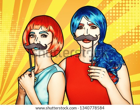 Portrait of young women in comic pop art make-up style. Females in red and blue wigs on yellow - orange cartoon background. Girls with false moustashes in hands
