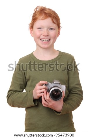 Portrait on a young girl with camera isolated on white background