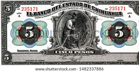 portrait on Mexico 5 pesos (1913) banknote, Close Up UNC Uncirculated Collection.
