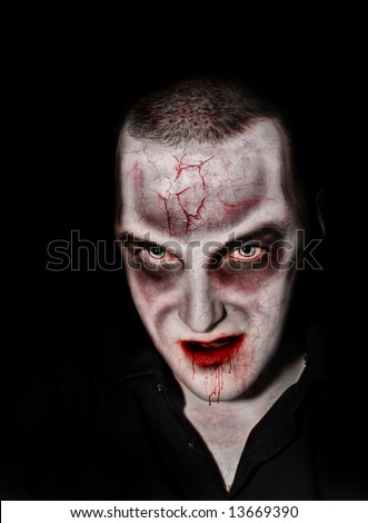 Portrait photo of a scary undead or zombie male human