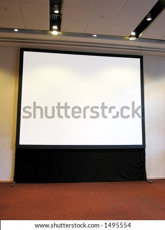 Portrait photo of blank conference room projector screen. - stock photo