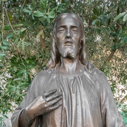 Portrait photo of Jesus Christ statue. On background an olive tree.