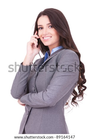 portrait picture of a business woman talking on the phone on white background