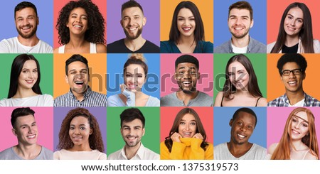 Portrait's collage. Young diverse people grimacing and gesturing at colorful backgrounds. Young and happy concept