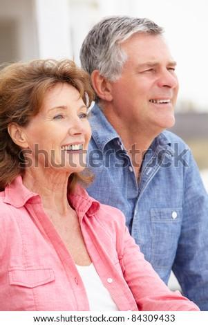 Portrait senior couple outdoors
