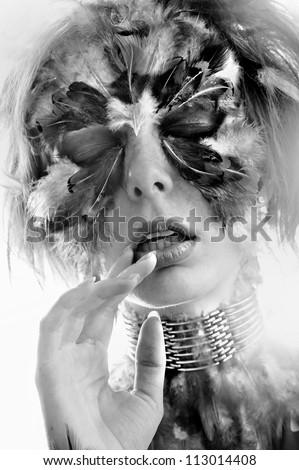 portrait sexy beautiful girl enjoys aroma hands near mouth