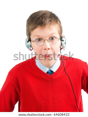 Portrait  shocked child with headset. White background.