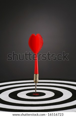 Portrait shot of a Red dart on bull\'s eye of a dart board