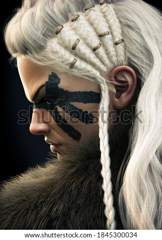 Portrait side view of a fierce viking female warrior with white braided hair and black face paint markings. 3d rendering