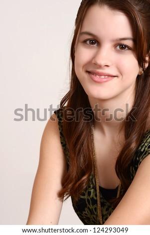 Portrait smiling teen girl
