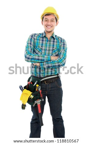 portrait smiling worker isolated over white background