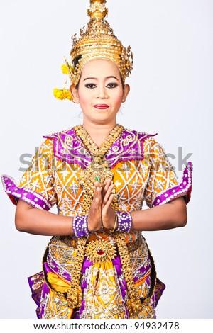 Portrait Thai Dancing Art ,Khon Thai Classical masked ballet in white background
