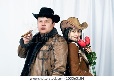 portrait to young family - stock photo