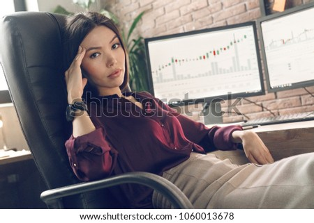 Portrait unwell woman is tired and has a headache, intracranial pressure