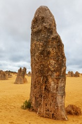 Portrait view of the limestone pinnacle in the Pinnacle National Park near Cervantes in Western Australia.