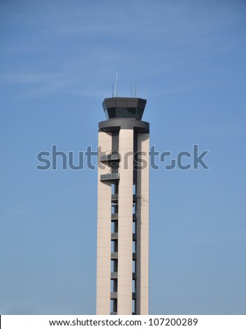 Portrait view of the Raleigh Durham International Airport traffic control tower in North Carolina