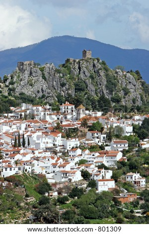 Portrait view of white pueblo town of Casares near Marbella in Spain