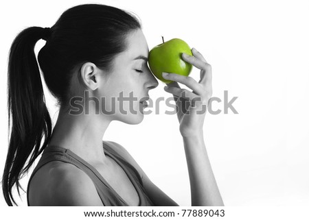 portrait with green apple