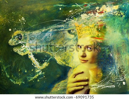 Portrait woman with crown on head and horse on backgrounds-concept naturalism, this is compilation art oil image and photo. NOTE: I am author of this oil image, this is my handly work