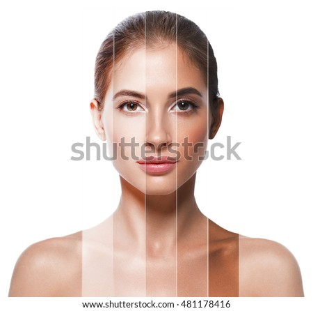 Portrait woman with problem and clear skin, skin tone different colors youth make up concept #481178416