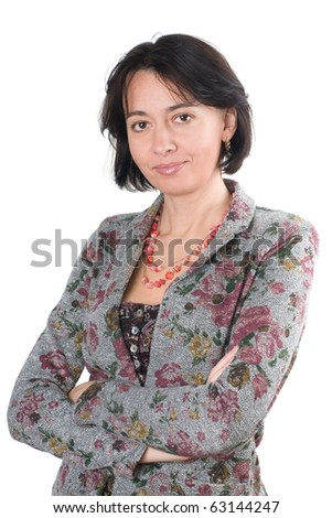 Portrait women of forty years, it is isolated on a white background