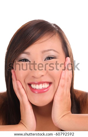stock photo portrait young asian teen girl with big smile and hands on