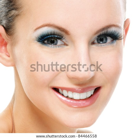 Portrait young beautiful smiling woman close up, isolated on white background.