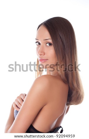portrait young beauty woman on a white