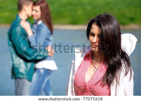 Portrait young girl in a fervent feelings for his girlfriend