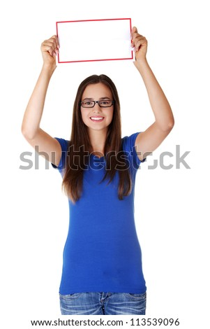 Portrait young happy woman with blank board , isoalted on white