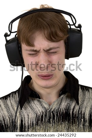 Portrait young man in ear-phones on the white background