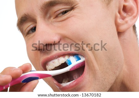 Portrait young men cleaning teeth. Isolated on a white background.