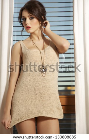 Portrait young slim sexy and attractive brunette woman in brown sweater against the window
