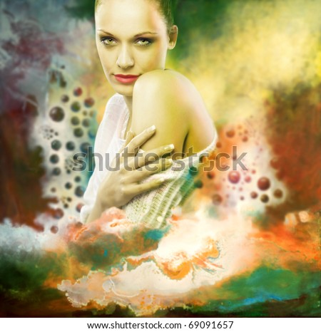 Portrait young woman in abstract backgrounds, photo and hand-drawing elements compound