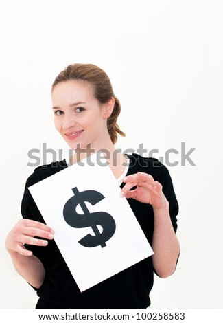 portrait young woman with board dollar mark
