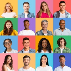 Portraits Collage. Bright Mosaic Of Different Multiethnic People Faces Smiling Posing Together Over Colorful Backgrounds. Happy And Successful Diverse Society Concept. Human Crowd Headshots, Square
