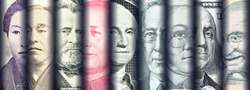 Portraits / images / faces of famous leaders on banknotes of the most dominant countries around the world i.e. Japanese yen, US dollar, Indian rupee, Australian dollar, Chinese yuan. Currency concept.