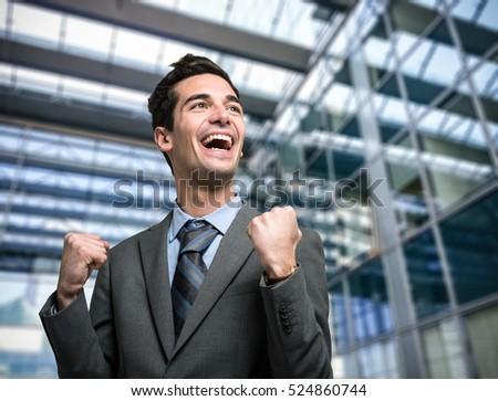 Portraits of a successful happy man