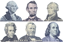 Portraits of America presidents and politicians from dollars isolated on white background. This has clipping path.