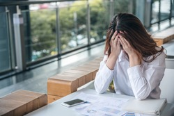 Portraits of beautiful asian woman stressed from work.anxiety in adult cause to depression and a problem in living that drag you down to feeling sadness,lonely and worried.