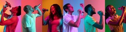 Portraits of different models on multicolored background in neon light. Flyer, collage made of people with microphone. Concept of ad, emotions, sales, advertising. Musicians, singers, performers.