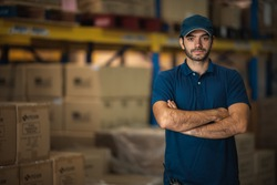 Portraits of male warehouse personnel staff wearing blue uniforms Currently working in storage and transportation internationally.
