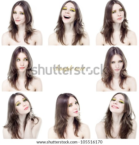 Portraits of of beautiful young girl with different emotions on a white background