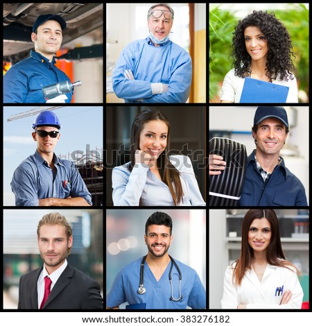 Portraits of people doing different jobs