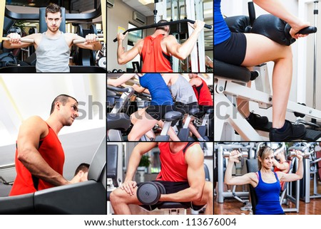 Portraits of people training in a fitness club