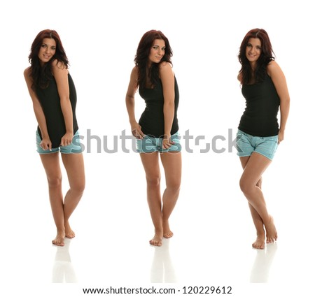 Portraits of Sexy brunette Posing with Black Shirt & Blue Shorts - stock photo