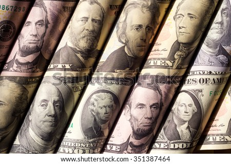 Portraits of the Presidents on twisted banknotes/Money or Portraits of Presidents