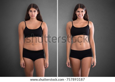 Portraits Of Woman Before And After From Fat To Slim Concept Standing Against Grey Background