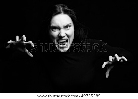 Portret of screaming woman