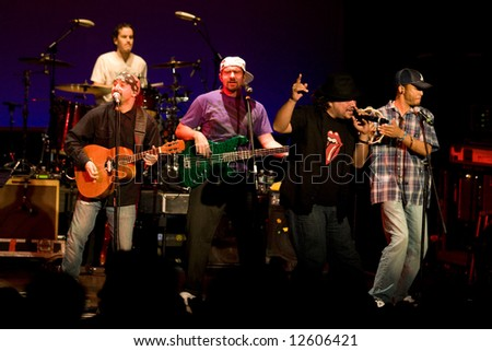 Portsmouth NH - May 11, 2008: Ozomatli performing at the Music Hall. - stock photo